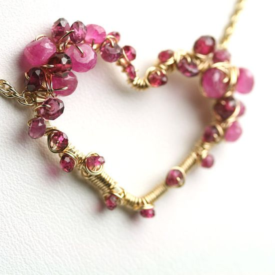 ? Pink Sapphire Garnet Wire Wrapped Heart