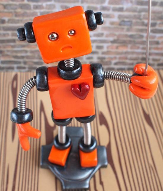 Robot Wire Photo Holder Oakley Orange by RobotsAreAwesome, $40.00