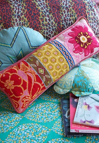 needlepoint bolster--this is totally cool! I could so do this with a few of my vintage needlepoint pieces.