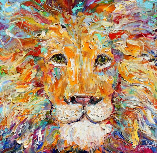 Original oil painting Wild Lion Portrait farm by Karensfineart