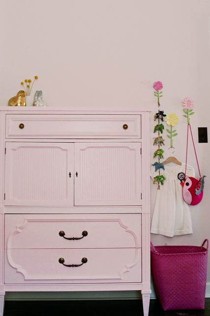 Pretty pink dresser-would change knobs and pulls