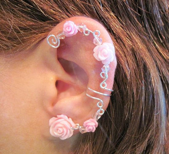 "Non Pierced Ear Cuff  ""Wild Roses"" Cartilage Conch Cuff Silver tone Prom Wedding Bridal  #jewelry #arianrhodwolfchild #piercing #cartilage #spirals #earrings #earcuff  #wedding #bridal #bridesmaids"