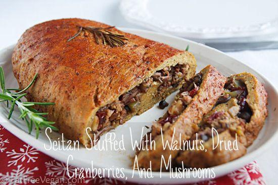 Vegan Seitan Stuffed With Walnuts, Dried Cranberries, And Mushrooms