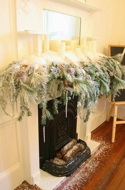 Christmas Magic-  Snowy Mantel-  White Christmas Decor