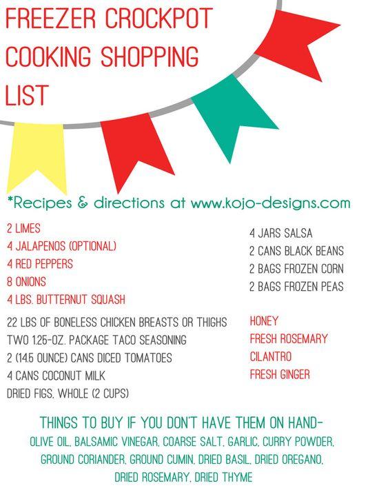 freezer crockpot cooking shopping list 2