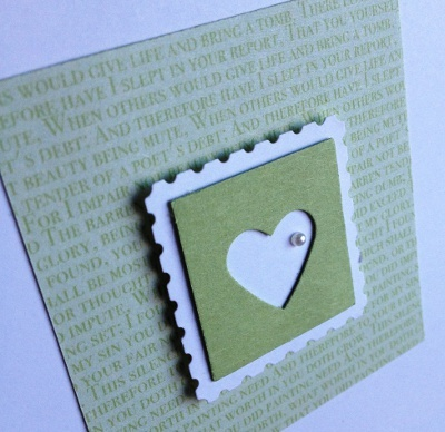 """Handmade card using Small Heart Punch, 1"""" Square Punch, Postage Stamp Punch from Stampin' Up!"""