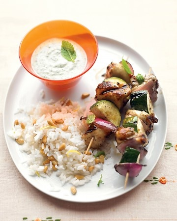 Grilled Greek Chicken Kebabs with Mint-Feta Sauce