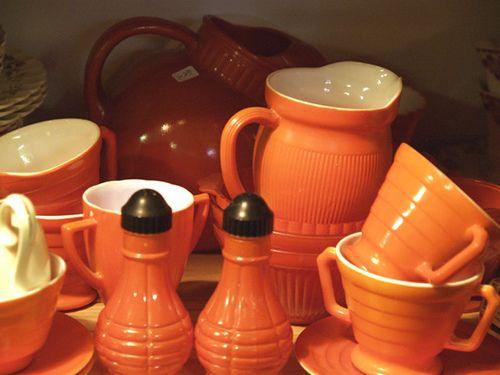 groovy orange vintage dishes