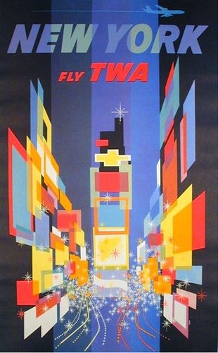 New York by TWA, late 1950's travel poster by David Klein