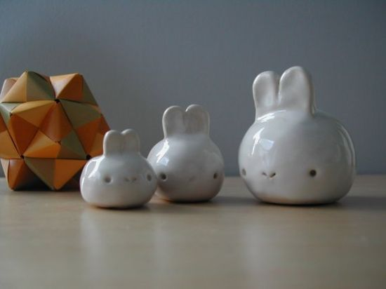 3 cute ceramic bunnies
