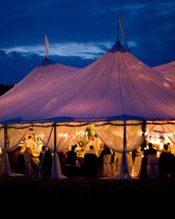 reception tent at night