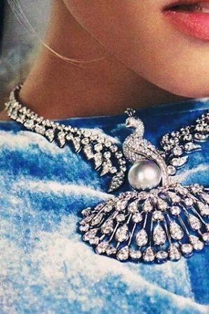 Cartier diamond peacock necklace~