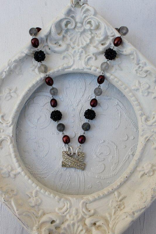 Vintage Rhinestone, Pearl and Gemstone Necklace~