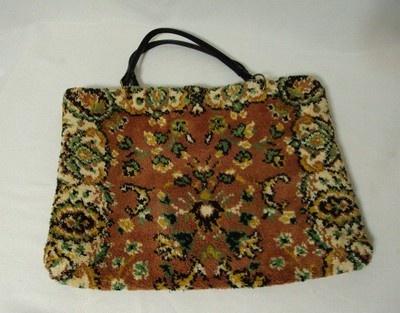 Vintage Carpet Bag Handbag Purse Huge Tote Stamboul Cotton Pile Hippie 60s 70s
