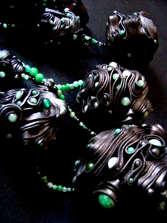 "Anes Kim - detail - ""An Emerging Creature is a project that is interested in invigorating jade through the use of leather in a contemporary way and with a wild combination of materials. """