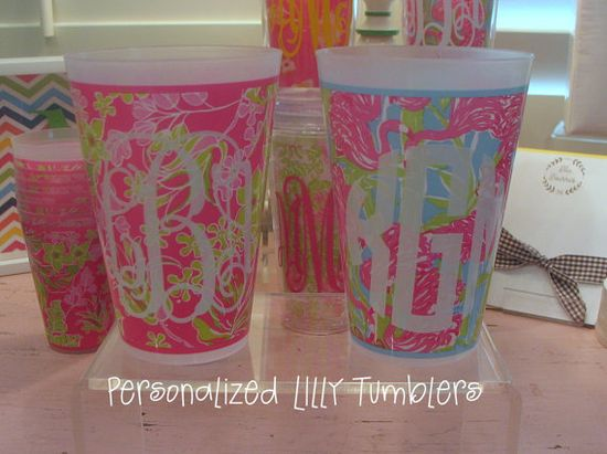 monogrammed Lilly tumblers