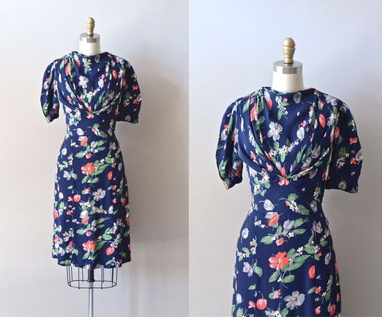 vintage 40s dress / rayon 1940s dress / Decoration by DearGolden, $224.00