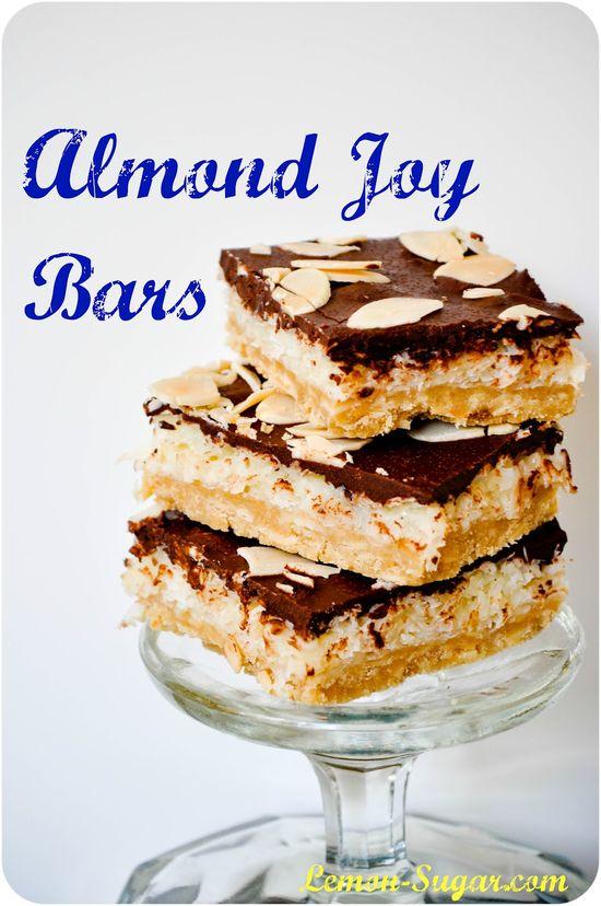 Almond Joy Bars - better than the real thing!  www.lemon-sugar.com #dessert #chocolate #almonds
