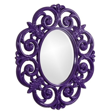Purple Elegant Oval Mirror