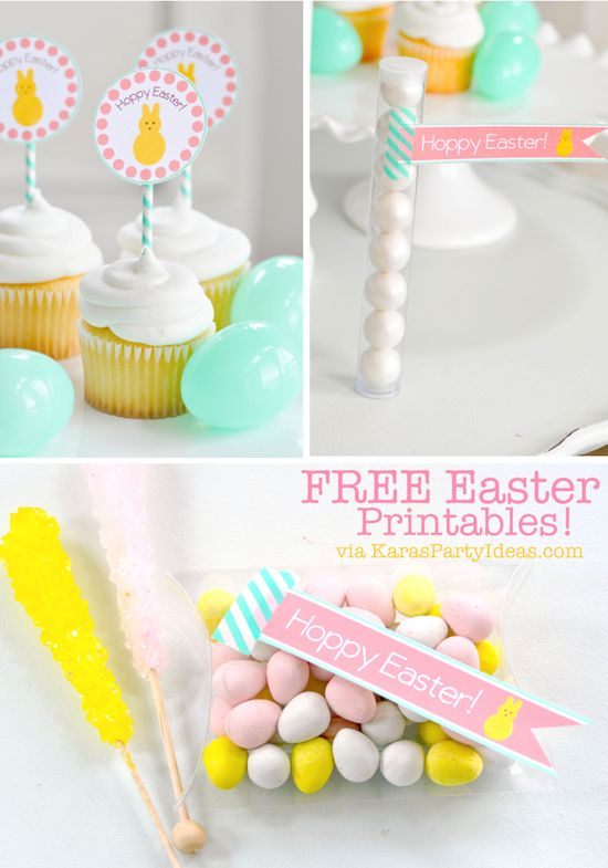 FREE EASTER printables! Tags, cupcake toppers & more! Via Kara's Party Ideas karaspartyideas.com #free #printable #easter #tags #cupcake #toppers #party #ideas
