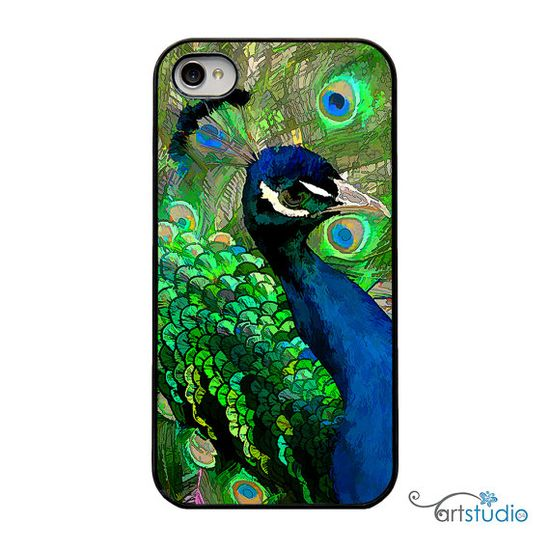 Green Blue Peacock Feather Black iPhone Case  by artstudio54, $20.00