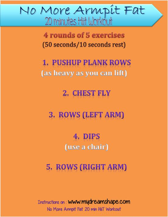 No More Armpit Fat Workout! 20 min HiiT Workout (printable) Instructions on www.mydreamshape.com