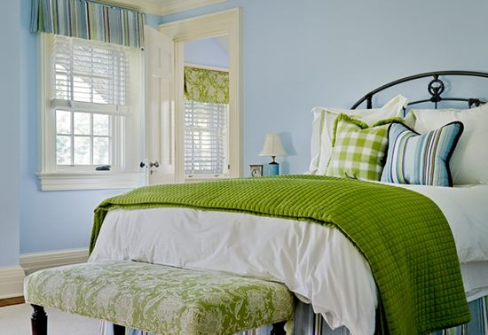 """Benjamin Moore Color... """"blue porcelain."""" This color goes perfect with the green accessories on the bed. Love it."""