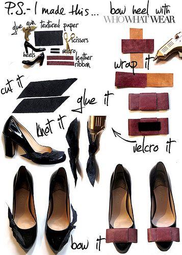 diy bow toe heels