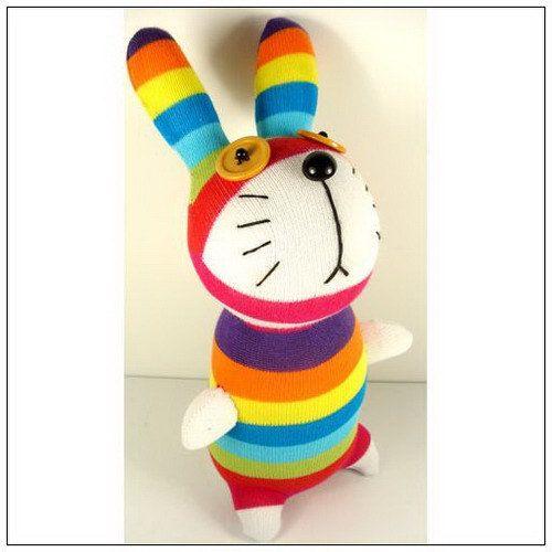 Handmade Sock Rabbit Bunny Stuffed Animal Doll Baby Toys.