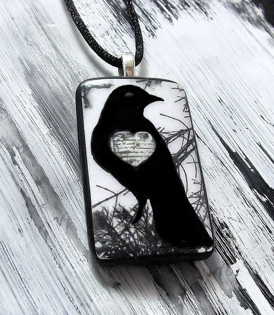 Raven / Crow   Art Jewelry  Pendant / by Collettestreasures, $18.00