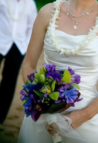 Pretty purple, blue and green bouquet