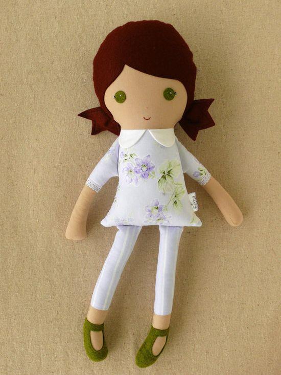 Fabric Doll Rag Doll Girl in Lavender Floral Dress via Etsy