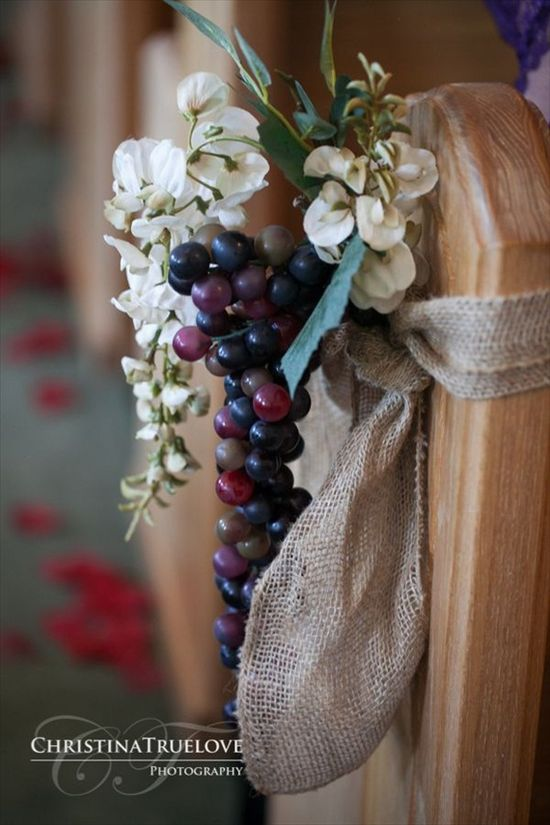 grapes and burlap ceremony aisle decor - wine themed wedding ideas