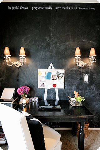 love the chalkboard wall in an office.
