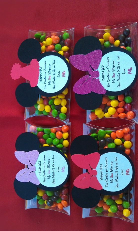 Mickey Mouse or Minnie Mouse Clear pillow boxes for Birthday or any themed party. $30.00, via Etsy.