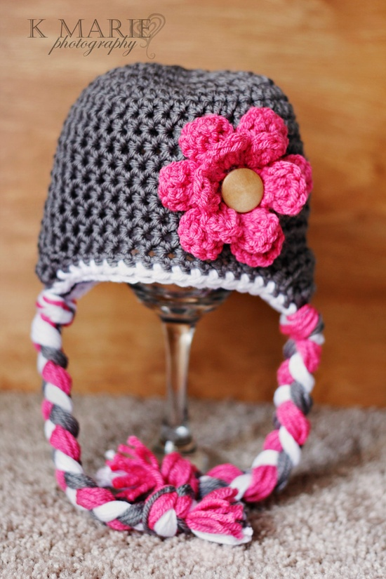Gray Newborn Hat with Pink Flower, Photography Prop