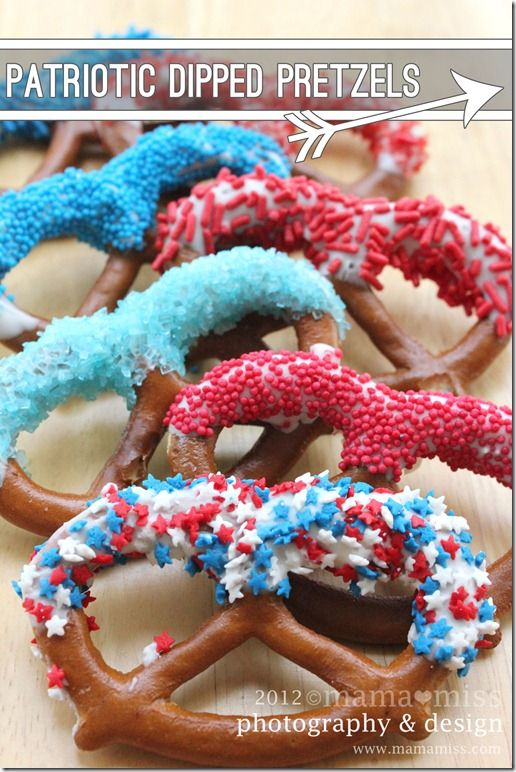 Patriotic Dipped Pretzels from mama?miss. Great for a July 4th party.