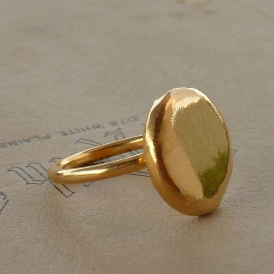 Gold ring 24K  Eco friendly ring Gold plated Sterling silver ring. $126.00, via Etsy.
