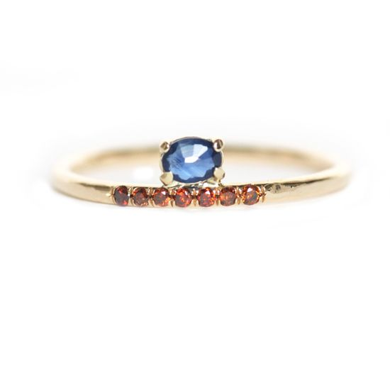 14K gold, sapphire, red diamonds