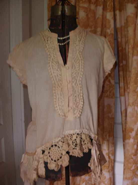$75.00.. LARGE..lovely tea dyed up-cycled blouse