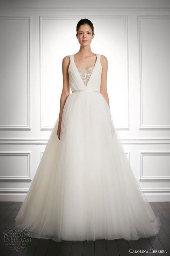 carolina herrera bridal fall 2013 jocelyn wedding dress with straps