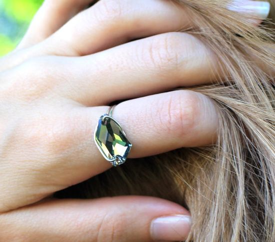 Black Diamond DeArt Crystal Ring by TrinketsNWhatnots on Etsy    Product photography by Tomlinson Photography & Design