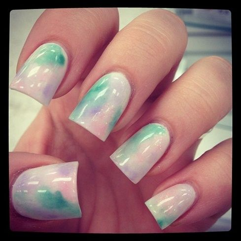 #nails #pastel #marble #spring