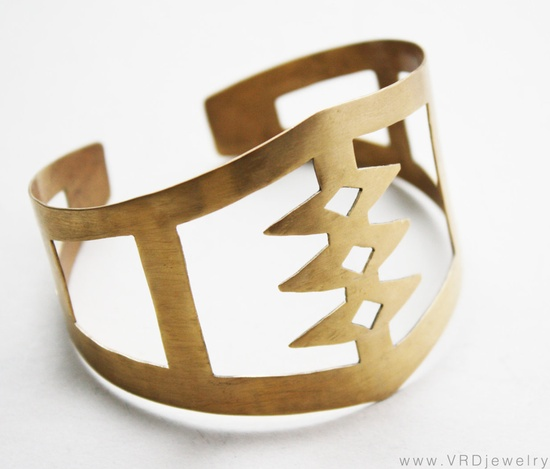 Tribal Cuff Bracelet / VRDJewelry on etsy