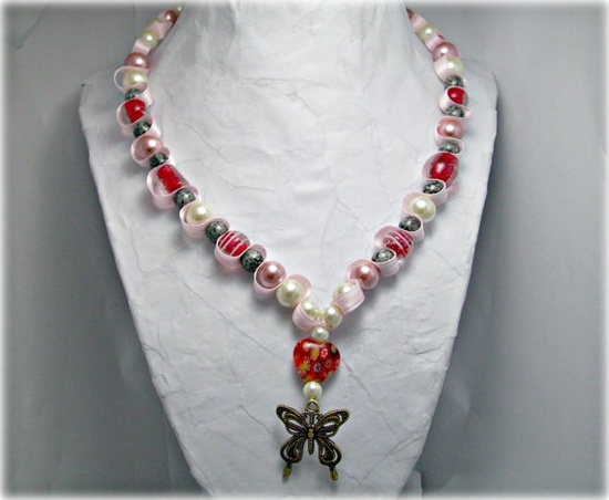Butterfly and heart beaded ribbon necklace Red by AlyxAndreaDesign, $21.00