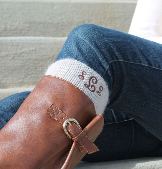 Monogram Boot Socks Personalized Knee High. via Etsy.