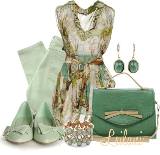 """Kaftan in greens"" by leilani-almazan ❤ liked on Polyvore"