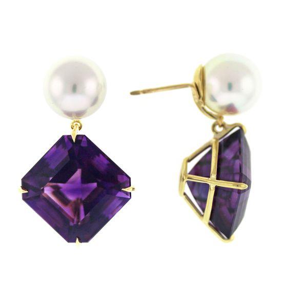 Asscher Cut Amethyst And South Sea Pearl Earrings