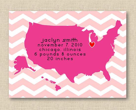 Love this birth announcement and would make great nursery art