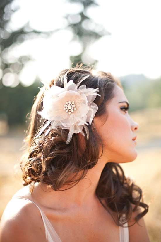 Bridal Head Piece Bridal Hair Flower feather head by Serephine. $105.00 USD, via Etsy.